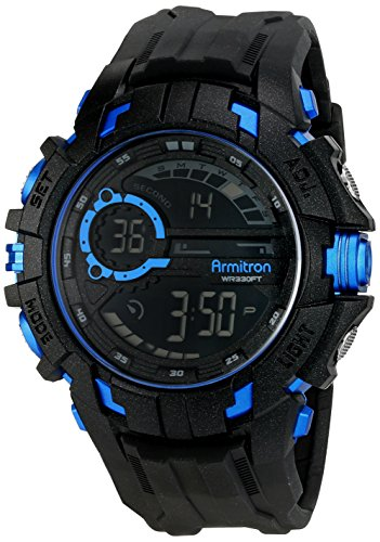 Armitron Sport Men's 40/8335BLU Blue Accented Digital Chronograph Black Resin Strap Watch