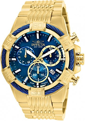 25866 - INVICTA Bolt Men 51mm Stainless Steel Gold Blue dial Z60 Quartz