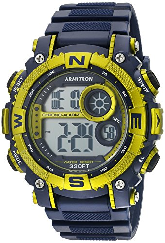 Armitron Sport Men's 40/8284NVLG Light Green-Accented Digital Chronograph Watch with Matte Blue Resin Strap