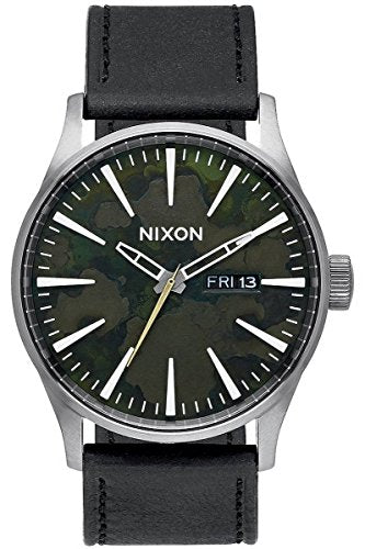 Gunmetal Grey/Green Oxyde The Sentry Leather Watch by Nixon