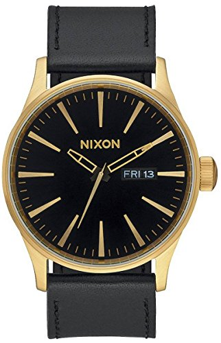 Gold/Black The Sentry Leather Watch by Nixon