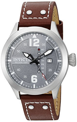 Invicta Men's 'I-Force' Quartz Stainless Steel and Brown Leather Casual Watch (Model: 22182)