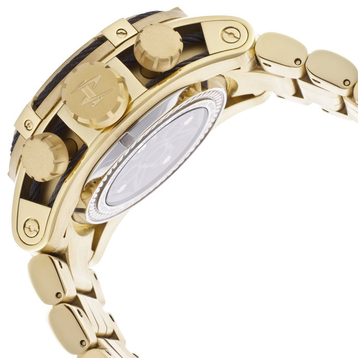 Invicta 13758 Men's Reserve Mechanical Chronograph White skeletonize Dial 18K Gold Plated Stainless Steel