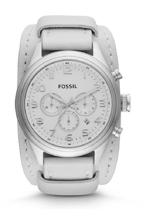 Fossil Asher Chronograph Leather Watch - White Bq1035