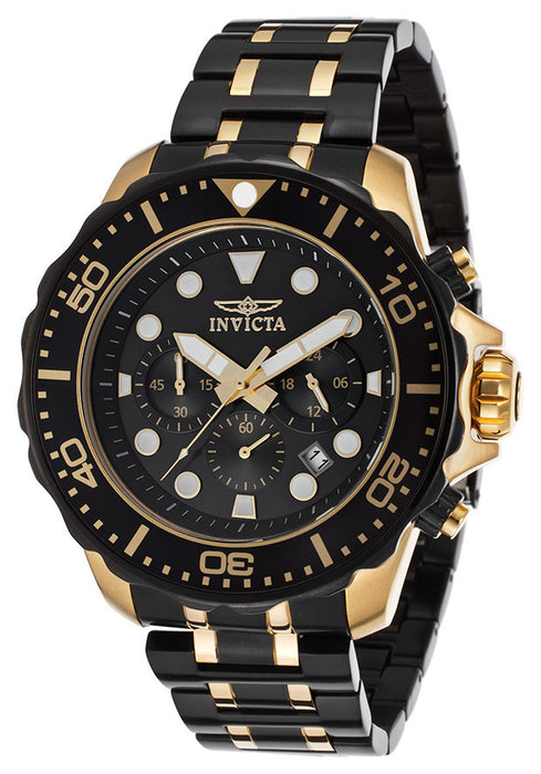 Invicta 15389 Pro Diver Chronograph Men's Watch Black IP & Yellow Gold