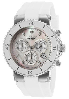 Mulco MW370604011 Women's Blue Marine Chronograph White Mother OF Pearl Dial White Silicone