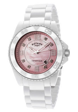 Rotary CEWBS-07 Women's Ceramique Pink MOP Dial
