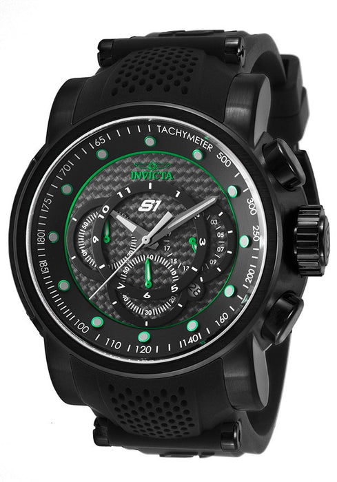 Invicta 19325 Men's S1 Rally Chrono Green Accented Black Dial Steel & Silicone Strap