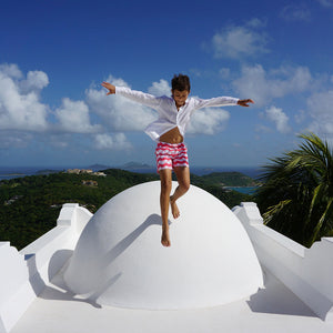 Childrens Linen Shirt: WHITE jumping on the roof villa Mustique