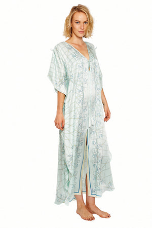 Lotty B Long Kaftan in Silk Crepe-de-Chine (Spiderlily Pale Blue) Front