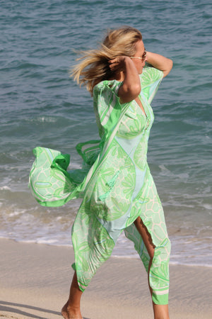 Long Kaftan in Silk Crepe-de-Chine : SAND DOLLAR GREEN designer Lotty B Mustique holiday style