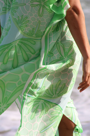 Long Kaftan in Silk Crepe-de-Chine : SAND DOLLAR GREEN designer Lotty B Mustique fashion and lifestyle