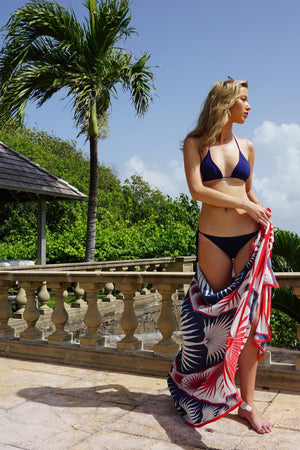 Sarong in Silk Crepe-de-Chine: FAN PALM - NAVY / RED Mustique style