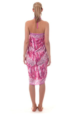 Lotty B Sarong in Silk Charmeuse ~ Pelican (Pink) Back
