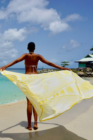 Lotty B Sarong in Cotton: FAN PALM - YELLOW Mustique beach life