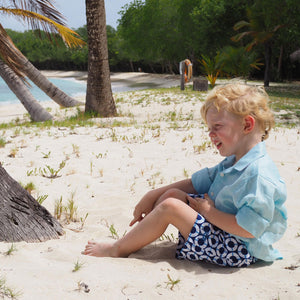 Boys swim trunks : LIFE RING - NAVY Designer Lotty B Mustique kids holiday clothing