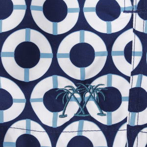 Swim fabric swatch : LIFE RING - NAVY Designer Lotty B Mustique