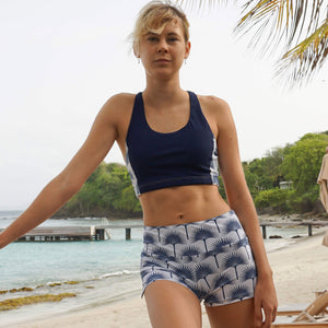Sports Cropped Top : FAN PALM NAVY designed by Lotty B Mustique lifestyle