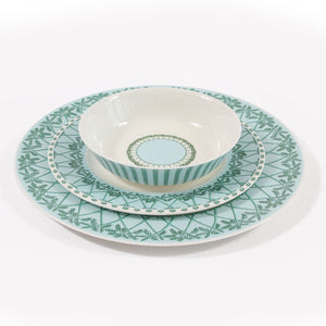 Fine Bone China Dinner Service : MUSTIQUE ISLAND - Bowl, Salad plate & Dinner plate