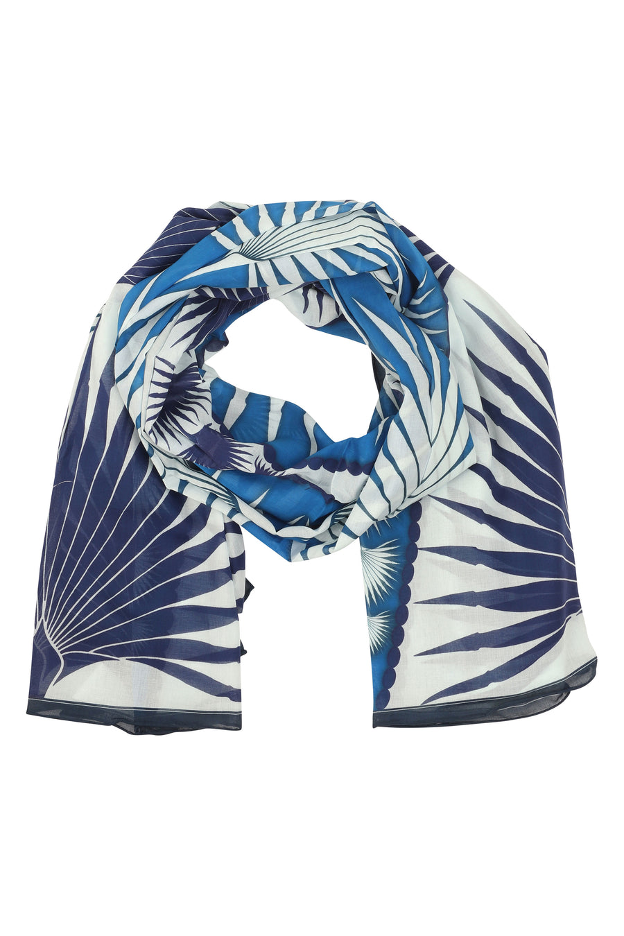 Lotty B Sarong in Cotton: FAN PALM - BLUE Mustique life