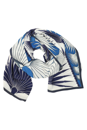 Lotty B Sarong in Silk Crepe-de-Chine: FAN PALM - BLUE / WHITE scarf