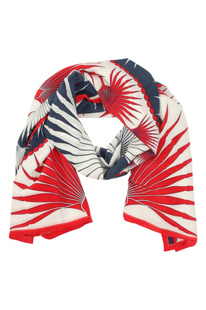 Sarong in Silk Crepe-de-Chine: FAN PALM - NAVY / RED scarf