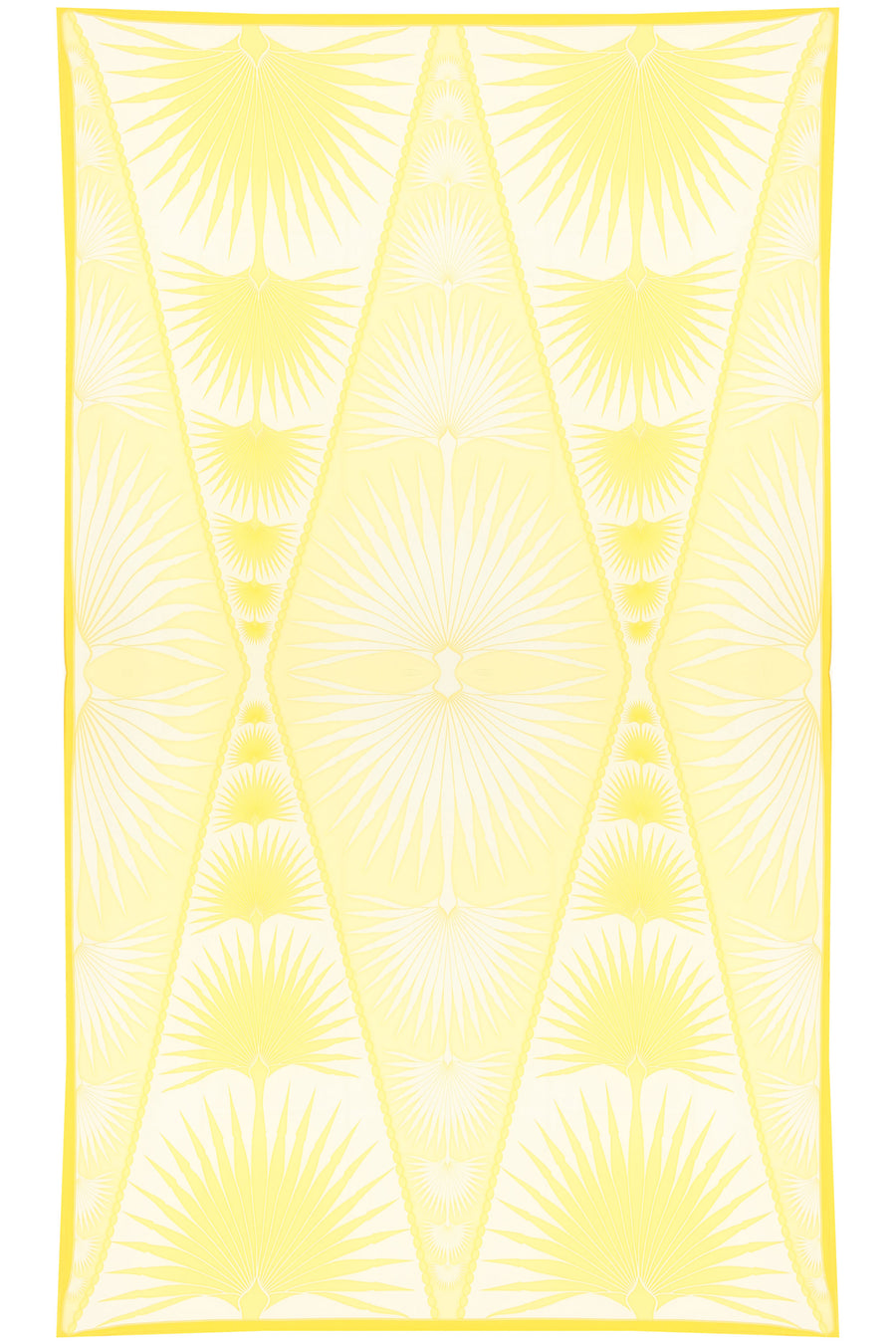 Lotty B Sarong in Silk Crepe-de-Chine: FAN PALM - YELLOW Mustique style