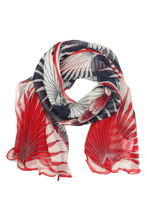 Sarong in Silk Chiffon: FAN PALM - NAVY / RED scarf