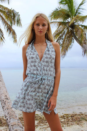 Lotty B Short Halter Neck Dress in Silk Crepe-de-Chine: BICYCLE - BLACK/PALE BLUE Mustique life