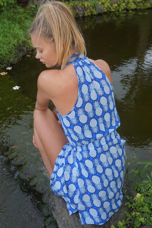 Lotty B Short Halter Neck Dress in Silk Crepe-de-Chine: PINEAPPLE - BLUE back Mustique Ella Ross