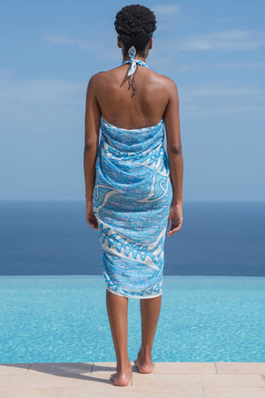 Lotty B Sarong in Cotton (Shark, Blue) Back