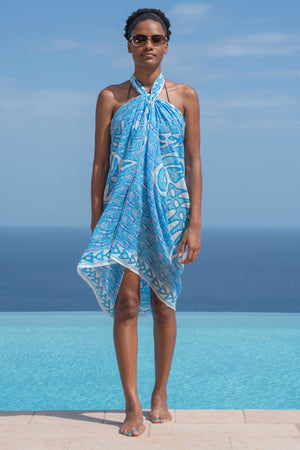 Lotty B Sarong in Cotton (Shark, Blue) Front