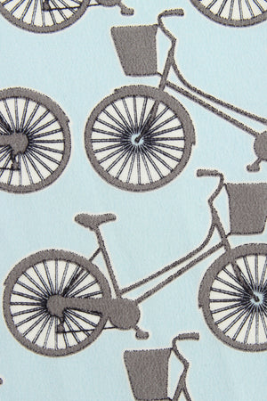 Lotty B Silk Crepe-de-Chine Long Scarf BICYCLE REPEAT - BLACK & PALE BLUE swatch
