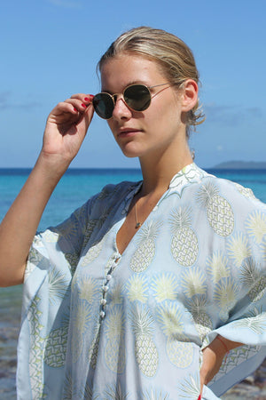 Lotty B Short Kaftan in Silk Crepe-de-Chine: PINEAPPLE - OLIVE sunglasses check Mustique