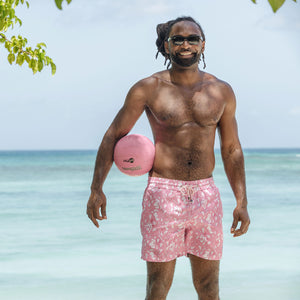 Mens Trunks (Hibiscus, Pink) Mustique lifestyle