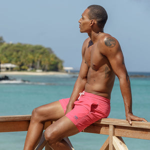 Mens Trunks : PLAIN - FADED RED designer Lotty B Mustique lifestyle