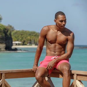 Mens Trunks : PLAIN - FADED RED designer Lotty B Mustique Sitting on the dock