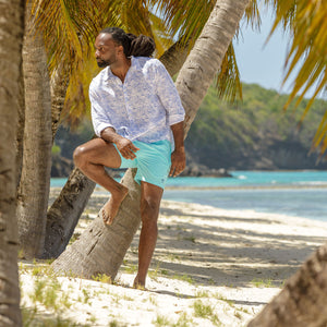 Mens swim trunks : MAKO TURQUOISE Mustique beach style