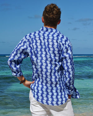 Mens Linen Shirt : FISH - AIRFORCE BLUE back designer Lotty B for Pink House Mustique mens beach style