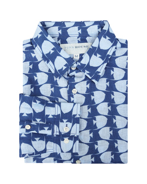 Mens Linen Shirt : FISH - AIRFORCE BLUE designer Lotty B for Pink House Mustique