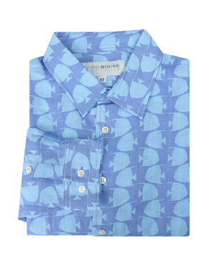Mens Linen Shirt : FISH - TURQUOISE designer Lotty B for Pink House Mustique