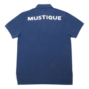 Mens Polo shirt: NAVY - WHITE MUSTIQUE applique - Back