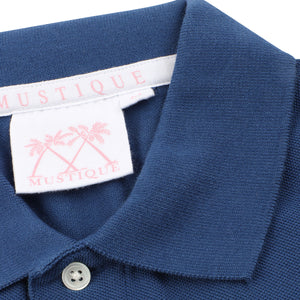Mens Polo shirt: NAVY - Collar detail