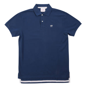 Mens Polo shirt: NAVY - WHITE MUSTIQUE applique - Front