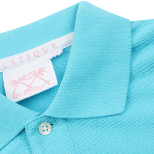 Mens Polo shirt: TURQUOISE - WHITE MUSTIQUE applique - collar detail