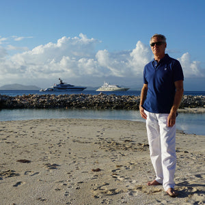 Mens Polo shirt: NAVY - WHITE MUSTIQUE applique - Mustique style