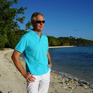 Mens Polo shirt: TURQUOISE - Mustique style