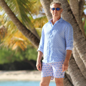 Mens swim trunks : LIFE RING - BLUE / RED designer Lotty B Mustique holiday style