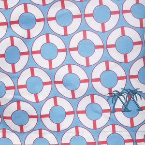Swim fabric swatch : LIFE RING - BLUE / RED designer Lotty B Mustique fashion & style