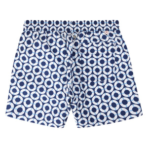Mens swim trunks : LIFE RING - NAVY designer Lotty B Mustique resort wear
